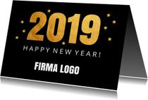 Nieuwjaarskaart confetti goud 2019