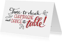 Nieuwjaarskaarten - Nieuwjaarskaart dance on the table