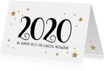Nieuwjaarskaart Fijne Feestdagen goudlook wit