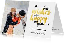 Nieuwjaarskaart - foto met glitter en gouden letters