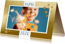 Nieuwjaarskaart foto op goud kader
