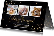 Nieuwjaarskaart fotocollage gouden confetti