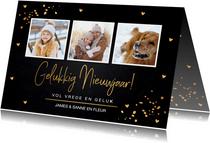 Nieuwjaarskaart fotocollage zwart goudlook confetti hartjes