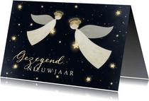 Nieuwjaarskaart Gezegend Nieuwjaar met 2 engelen en sterren