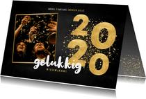 Nieuwjaarskaart gouden 2020, grote foto gelukkig nieuwjaar