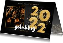 Nieuwjaarskaart gouden 2022, grote foto gelukkig nieuwjaar