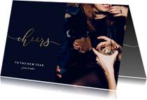 Nieuwjaarskaart gouden 'cheers' en foto
