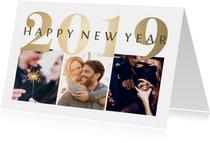 Nieuwjaarskaart goudlook '2019' fotocollage 3 foto's