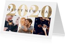 Nieuwjaarskaart goudlook '2020' fotocollage 3 foto's