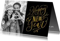 Nieuwjaarskaart handlettering Happy New Year zwart met goud