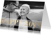 Nieuwjaarskaart 'Happy 2019' stijlvol goud