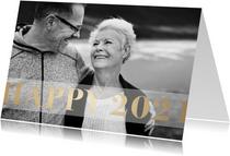 Nieuwjaarskaart 'Happy 2021' stijlvol goud