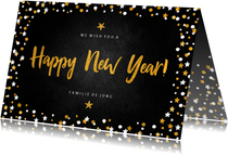 Nieuwjaarskaart happy new year krijtbord met confettikader