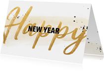Nieuwjaarskaart in goudlook