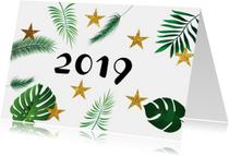 Nieuwjaarskaarten - Nieuwjaarskaart leaves  met planten en gouden sterren