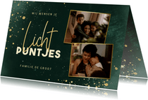 Nieuwjaarskaart lichtpuntjes met 2 foto's groen met spetters
