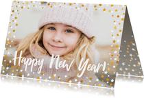 Nieuwjaarskaart liggend gouden sterren met confetti en foto