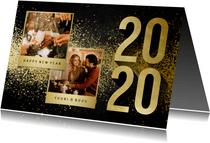 Nieuwjaarskaart met 2 foto's goudlook 2020 en spetters