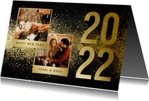 Nieuwjaarskaart met 2 foto's goudlook 2022 en spetters