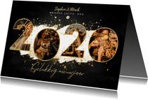 Nieuwjaarskaart met 2020 fotocollage, witte verf en spetters