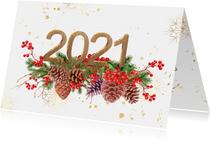 Nieuwjaarskaart met 2021 in hout met goud