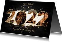 Nieuwjaarskaart met 2022 fotocollage, witte verf en spetters