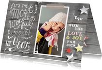 Nieuwjaarskaart met eigen foto en creatieve tekst