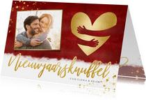 Nieuwjaarskaart met foto & nieuwjaarsknuffel in gouden hart
