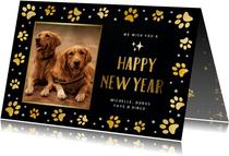 Nieuwjaarskaart met foto huisdier en honden pootafdrukjes