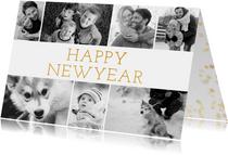 Nieuwjaarskaart met fotocollage en happy new year