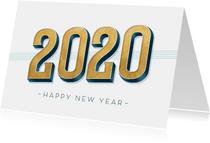 Nieuwjaarskaart met gouden cijfers