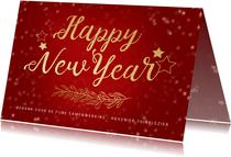 Nieuwjaarskaart rood gouden sterren - een gouden kerst