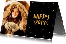 Nieuwjaarskaart sterren 'Happy 2019' goudlook
