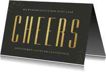 Nieuwjaarskaart stijlvol olijfgroen goud foto cheers