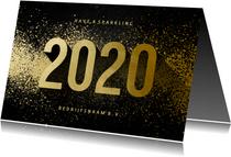 Nieuwjaarskaart zakelijk 2020 goudlook met spetters