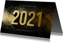 Nieuwjaarskaart zakelijk 2021 goudlook met spetters