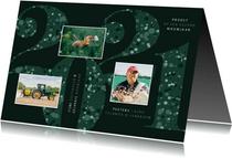 Nieuwjaarskaart zakelijk 2021 groen sparkle ster