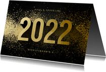 Nieuwjaarskaart zakelijk 2022 goudlook met spetters