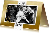 Nieuwjaarskaart zakelijk foto op goud