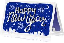 Nieuwjaarskaart zakelijk tekst vuurwerk