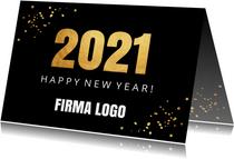 Nieuwjaarskaart zwart goudlook confetti 2021