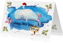 Nieuwjaarskaarten walvis met kerstmuts