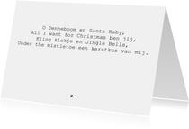 Origineel muzikaal kerstgedicht op kaart