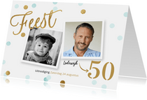 Originele uitnodiging verjaardag 50 jaar confetti