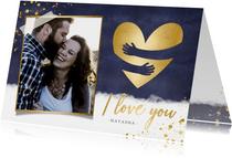 Originele valentijnskaart man - gouden knuffel hart en foto