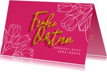 Osterkarte mit Lettering und Tulpen
