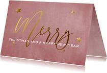 Oudroze kerstkaart voor bedrijven met goudlook tekst
