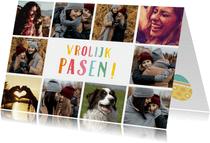 Paaskaart fotocollage met 10 foto's en vrolijk pasen