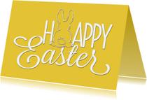 Paaskaart Happy Easter geel - SG