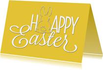 Paaskaart Happy Easter geel